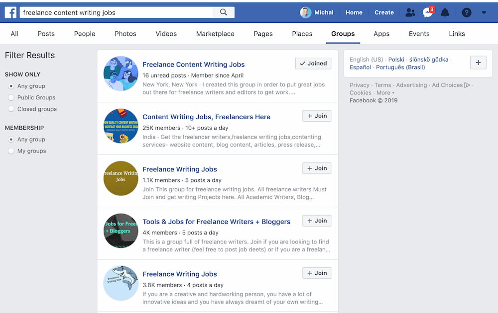 Facebook groups for those who're thinking of creating an online marketplace website.